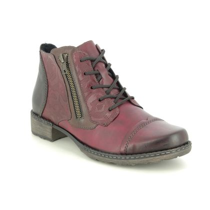 Remonte Lace Up Boots - Wine leather - D4378-35 PEESHEL