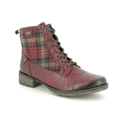 Remonte Lace Up Boots - Wine leather - D4354-35 PEETART TEX