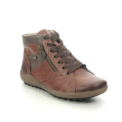Remonte Lace Up Boots - Tan Leather - R1497-22 ZIGINZIP TEX