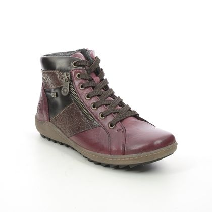 Remonte Lace Up Boots - Red leather - R1497-35 ZIGINZIP TEX