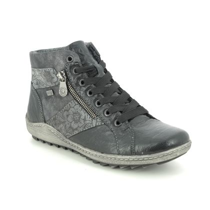 Remonte Lace Up Boots - Black leather - R1497-45 ZIGINZIP TEX