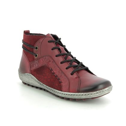 Remonte Boots - Ankle - Red leather - R1499-35 ZIGPAT