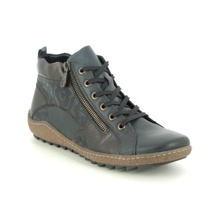 Remonte Lace Up Boots - Navy - R4790-14 ZIGPATCH