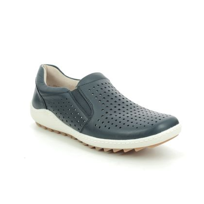 Remonte Comfort Slip On Shoes - Navy Leather - R1421-14 ZIGPERF
