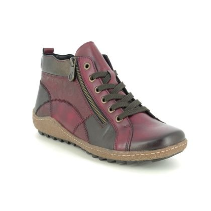 Remonte Lace Up Boots - Wine leather - R4790-35 ZIGSEIPATCH