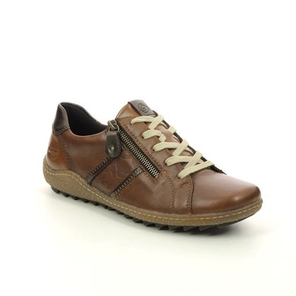 Remonte Comfort Lacing Shoes - Tan Leather - R4706-22 ZIGSPO TEX 15
