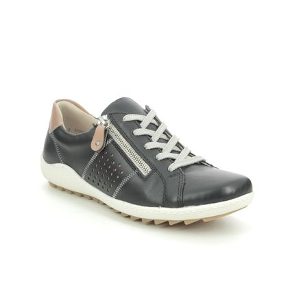 Remonte Comfort Lacing Shoes - Black leather - R1417-01 ZIGZIP 1