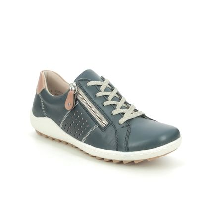 Remonte Comfort Lacing Shoes - Navy leather - R1417-14 ZIGZIP 1