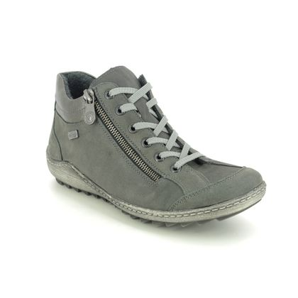 Remonte Lace Up Boots - Grey leather - R1483-45 ZIGZIP 85 TEX