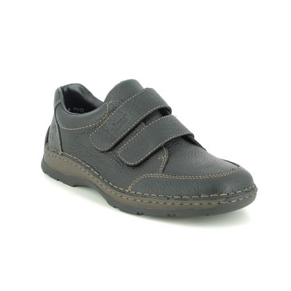Rieker Mens Velcro Shoes - Black leather - 05350-00 ANTONVELS