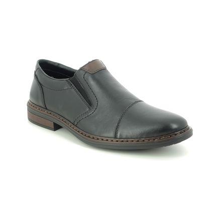 Rieker Slip-on Shoes - Black leather - 17659-00 CLERKDEX WIDE FIT