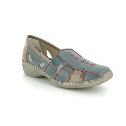Rieker Comfort Slip On Shoes - Denim - 41385-13 DORIC