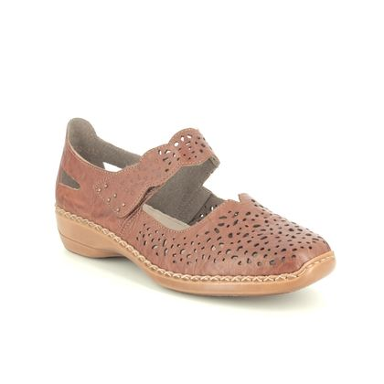 Rieker Mary Jane Shoes - Tan Leather - 41397-22 DORISBARK