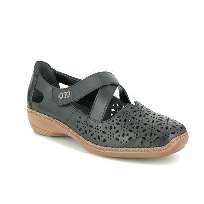 Rieker Mary Jane Shoes - Black - 413J0-00 DORIDAIS