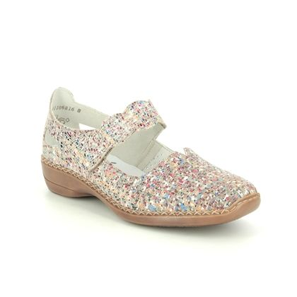 Rieker Mary Jane Shoes - Beige multi - 413J2-60 DORIBARCS