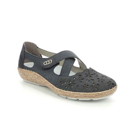 Rieker Mary Jane Shoes - Navy nubuck - 44856-14 CINDICROSS