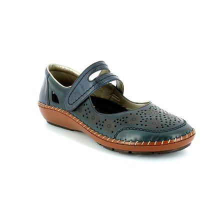 Rieker Mary Jane Shoes - Navy - 44875-14 CINDERS