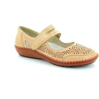 Rieker Mary Jane Shoes - Beige - 44875-60 CINDERS