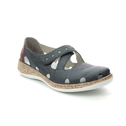 Rieker Mary Jane Shoes - Navy Tan - 46356-14 DAISDOLY