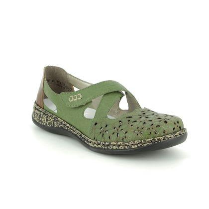 Rieker Mary Jane Shoes - Green - 463H4-52 DAISBEK