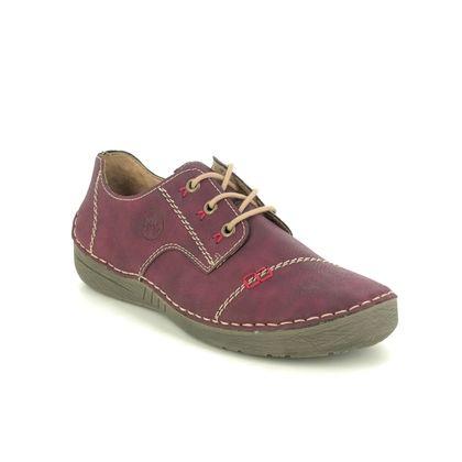 Rieker Comfort Lacing Shoes - Aubergine - 52520-35 FUNZI
