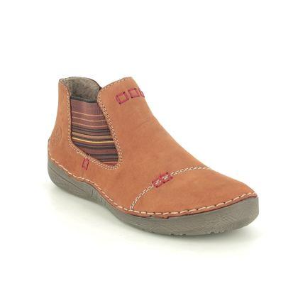 Rieker Ankle Boots - Tan Nubuck - 52590-22 FUNZIA