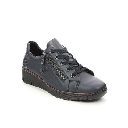 Rieker Comfort Lacing Shoes - Navy - 53702-14 BOCCIZIP LACE