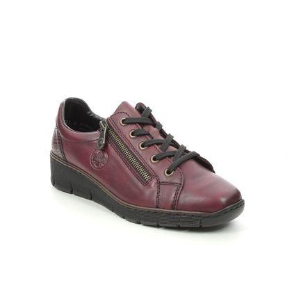 Rieker Comfort Lacing Shoes - Dark Red - 53702-35 BOCCIZIP LACE