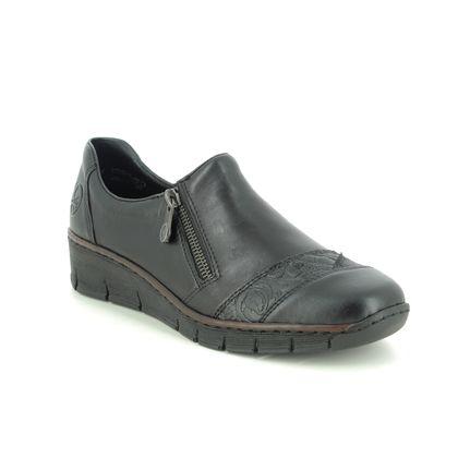 Rieker Comfort Slip On Shoes - Black leather - 53761-00 BOCCITU