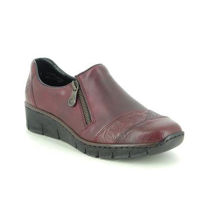 Rieker Comfort Slip On Shoes - Wine leather - 53761-35 BOCCITU