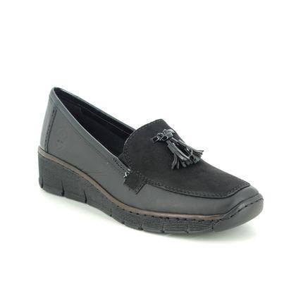 Rieker Comfort Slip On Shoes - Black leather - 53771-00 BOCCILOAFO