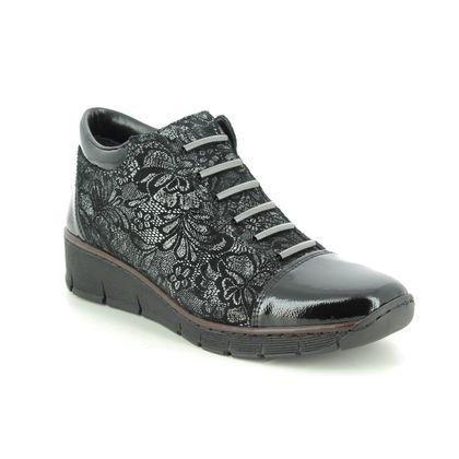 Rieker Boots - Ankle - Black Patent - 53778-00 BOCCIBOCA
