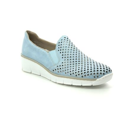 Rieker Comfort Slip On Shoes - Pale blue - 537A6-10 BOCCISTO