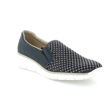 Rieker Comfort Slip On Shoes - Navy - 537A6-14 BOCCISTO