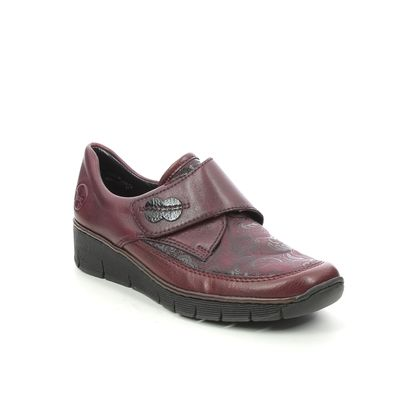 Rieker Comfort Slip On Shoes - Wine - 537C0-35 BOCCISVEL