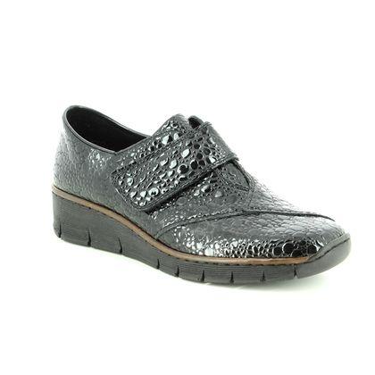 Rieker Comfort Slip On Shoes - Black croc - 537C5-45 BOCCIDORVEL