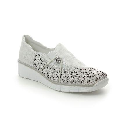 Rieker Comfort Slip On Shoes - White-silver - 537N8-80 BOCCIELA