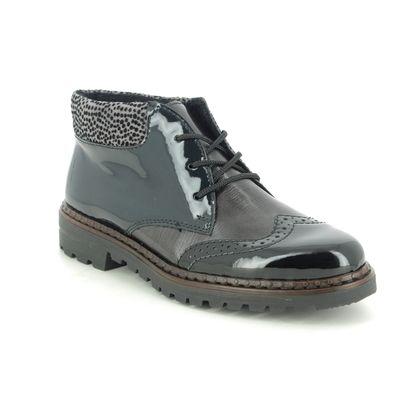 Rieker Lace Up Boots - Black patent - 54839-00 PORT BOOT