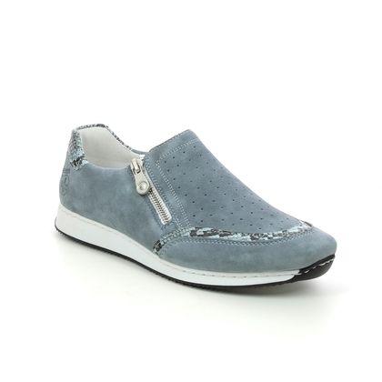 Rieker Comfort Slip On Shoes - Denim blue - 56075-10 BRUNALFA