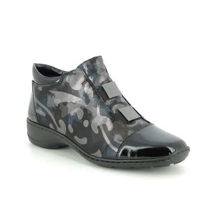 Rieker Comfort Slip On Shoes - Black Navy combi - 58398-00 DORBOCAMO
