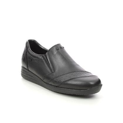 Rieker Comfort Slip On Shoes - Black leather - 58462-00 BODICA TEX