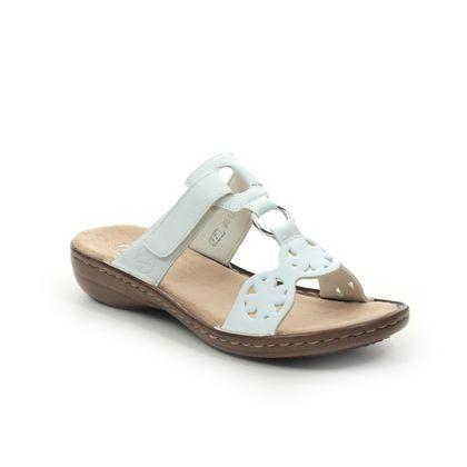 Rieker Slide Sandals - White - 60827-80 REGINOST