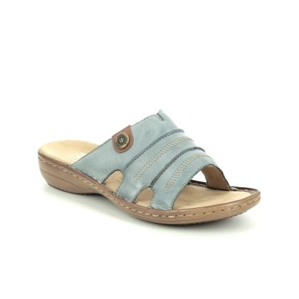Rieker Slide Sandals - Denim Tan - 60876-12 REGIZIG