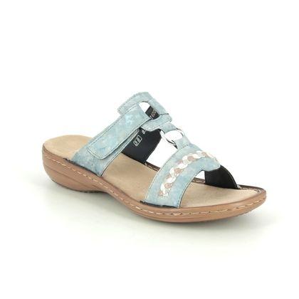 Rieker Slide Sandals - Pale blue multi - 60888-12 REGIASKY