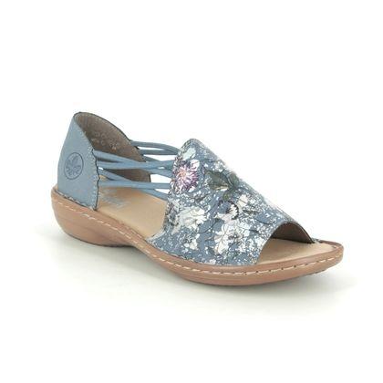 Rieker Comfortable Sandals - Navy Floral - 608F1-91 REGIKORSA