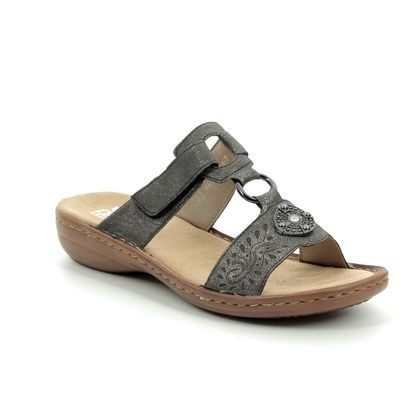 Rieker Slide Sandals - Pewter - 608K1-45 REGINAP