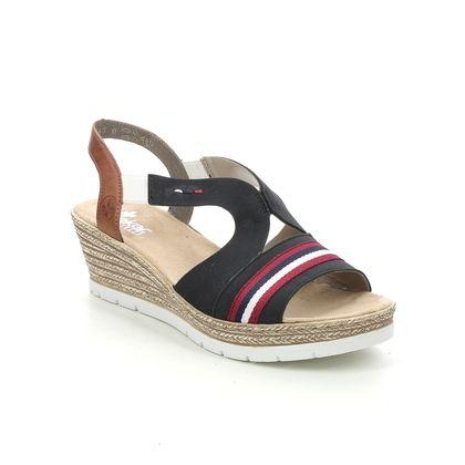 Rieker Wedge Sandals - Navy Red White - 619S6-14 HYFAUT