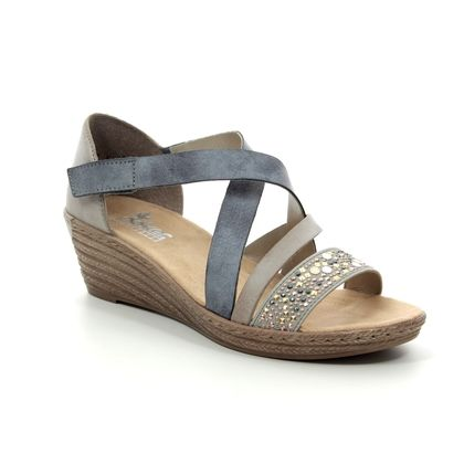 Rieker Wedge Sandals - Blue - 62405-42 FAWNBACK