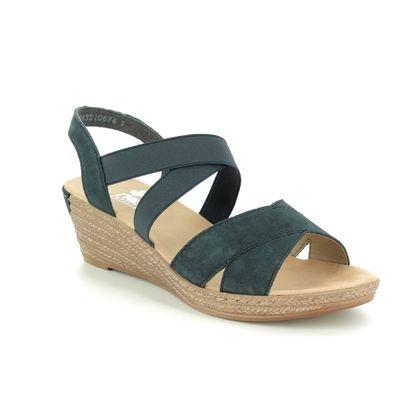 Rieker Wedge Sandals - Navy - 62412-15 FAWNTON
