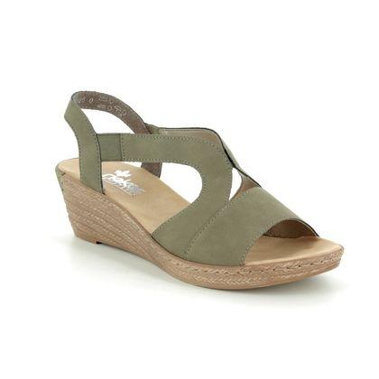 Rieker Wedge Sandals - Olive Green - 62429-54 FAWNA